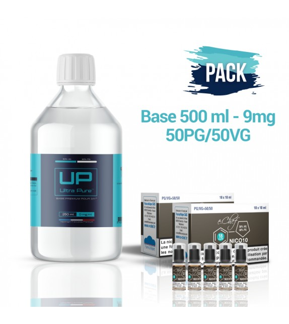 Pack Base UP 500 ml 50PG/50VG - 9mg